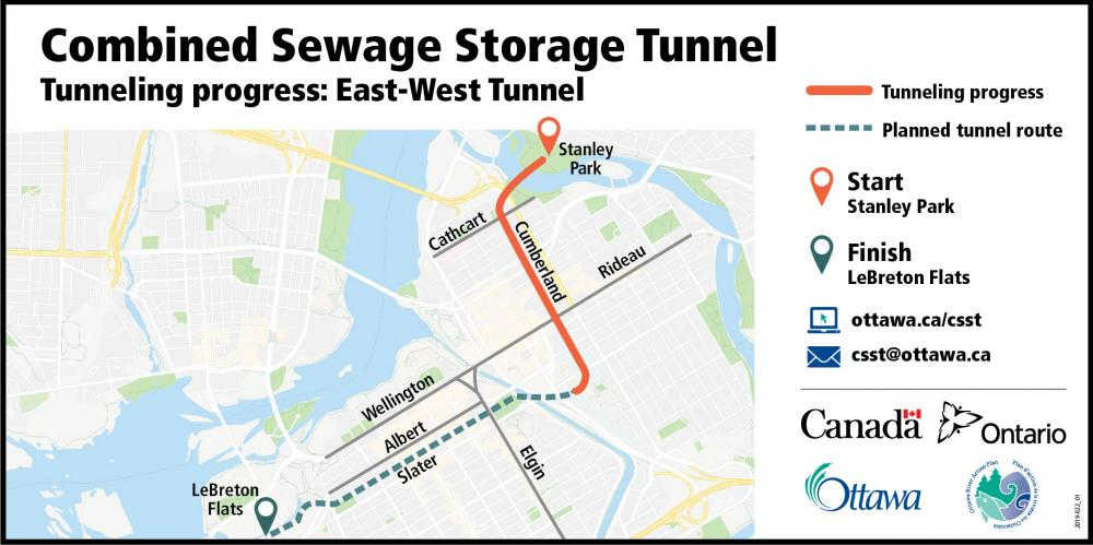 Picture showing a map of Ottawa and an orange line from Stanley Park south to Rideau Street showing the east-west tunnel has been completed to that point and a green dotted line showing the entire alignment traveling south along Cumberland Street then heading West on Laurier and up to Slater Street and ending in LeBreton Flats.