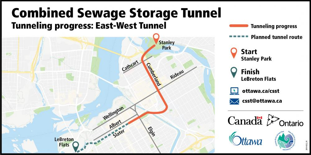 Picture showing a map of Ottawa and an orange line from Stanley Park W to Cumberland, then south along Cumberland before turning west on Waller/ Laurier, going through Confederation Park then down Slater Street, stopping just east of Elgin showing that the east-west tunnel has been completed to this point.