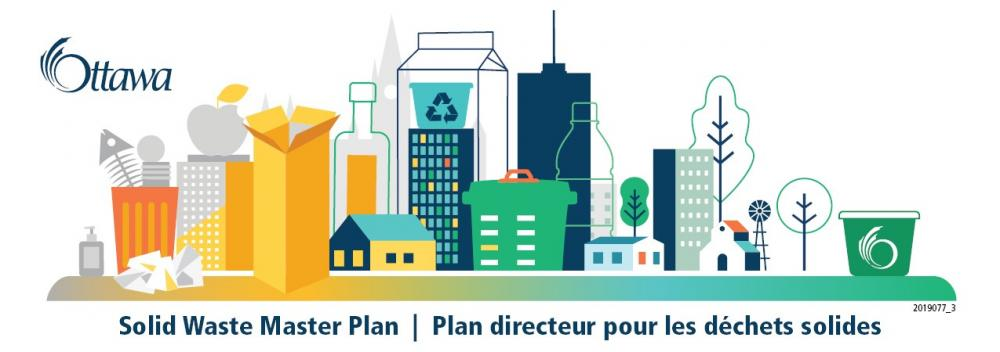Visual Identity for the Solid Waste Master Plan: a colourful, stylized streetscape, consisting of a mix of buildings and oversized waste-related objects like garbage cans, bottles and milk containers.