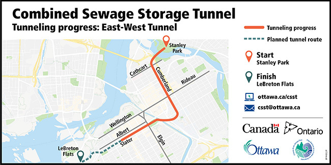 Picture showing a map of Ottawa and an orange line from Stanley Park W to Cumberland, then south along Cumberland before turning west on Waller/ Laurier, going through Confederation Park then down Slater Street, stopping at Kent Street.