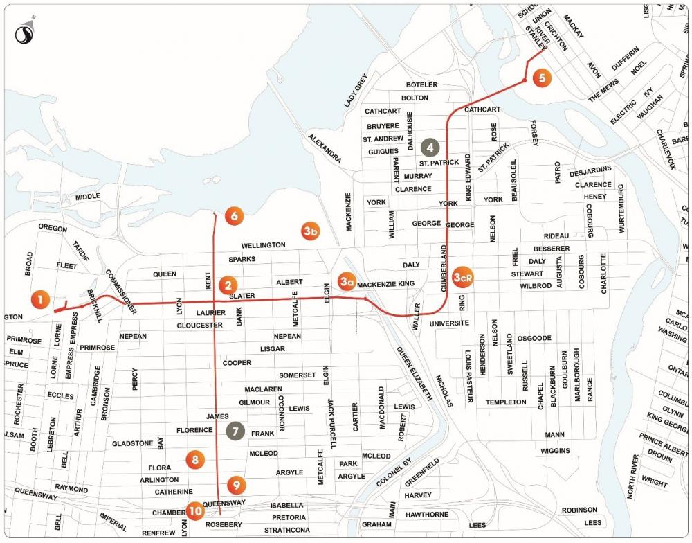 Map of the CSST alignment and sites. The East-West tunnel runs through the downtown core from LeBreton Flats to New Edinburgh, and the North-South tunnel runs from Chamberlain Avenue to behind the Supreme Court of Canada. Description of sites, indicated by orange dots, are as follows: Site 1: West End Shaft - LeBreton Flats Site 2: East West Tunnel/North South Tunnel Intersection - Kent and Slater Streets Site 3a: Rideau Canal Interceptor Diversion Chamber - Confederation Park Site 3b: Rideau Canal Regulator – Rideau Canal Site 3cR: Wilbrod and Cumberland Streets Site 4: St. Patrick Shaft - York and Cumberland Streets Site 5: East West Tunnel Outlet and Rideau River Collector Diversion - New Edinburgh Park Site 6: NST Overflow/Kent Street Outfall - Ottawa River Pathway Site 7: Identified with a grey dot, as this site was eliminated during the design phase of the project Site 8: McLeod Street Drop - Kent and McLeod Streets Site 9: Catherine Street Drop - Kent and Catherine Streets Site 10: Chamberlain Shaft - Kent and Chamberlain Streets