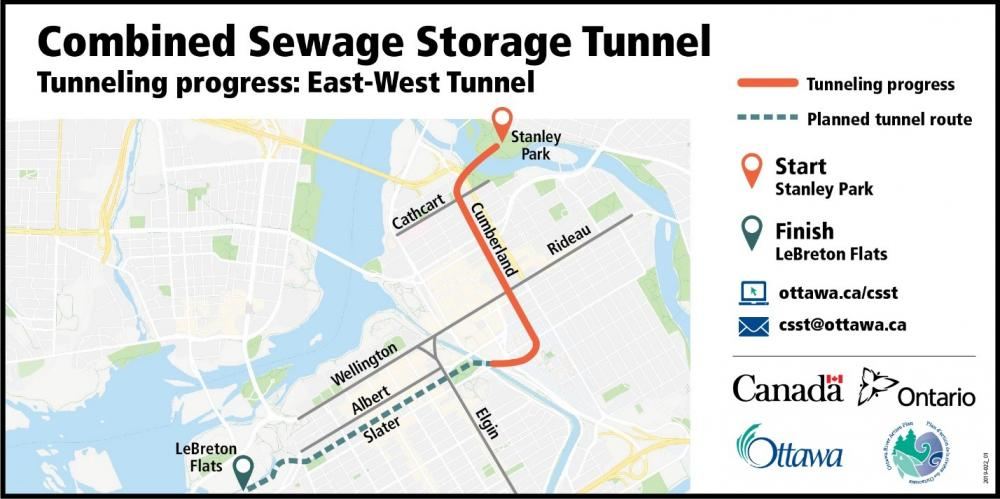 Picture showing a map of Ottawa and an orange line from Stanley Park W to Cumberland, then south along Cumberland before turning west on Waller/ Laurier and stopping at the Rideau Canal showing that the east-west tunnel has been completed to this point.